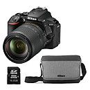 Nikon D5600 + AF-S DX NIKKOR 18-140 mm VR + Fourre-tout + Carte SDHC 16 Go