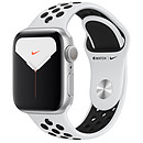 Apple Watch Series 5 Nike GPS Aluminium Argent Bracelet Sport Platine Pur/Noir 40 mm