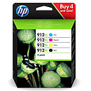 HP 912XL Pack de 4 Negro, Cian, Magenta, Amarillo (3YP34AE)