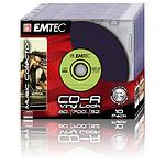 EMTEC CD-R 700 Mo Vinyl Look certifié 52x couleur (pack de 10, boitier slim)