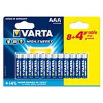 Varta High Energy AAA 8+4 gratuites