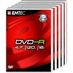 EMTEC DVD-R 4.7 Go certifié 16x (pack de 5, boitier DVD)