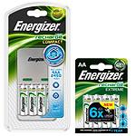 Energizer Chargeur Compact livré avec 4 piles AA 2450 mAh + 1 blister de 4 piles AA 2300 mAh offert