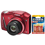 Canon PowerShot SX150 IS Rouge + 6 piles Varta Max Tech AA