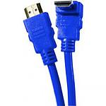 Câble HDMI 1.4 Ethernet Channel Coudé mâle/mâle Bleu - (2 mètres)