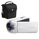 Sony HDR-CX250 Blanc + Carte SD 8 GO + Etui Case Logic PVL-203