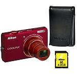 Nikon Coolpix S6200 Rouge Passion + Etui + SD 4 Go