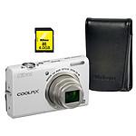 Nikon Coolpix S6200 Blanc Lunaire + Etui + SD 4 Go