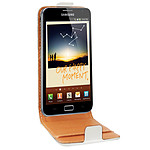 Swiss Charger Etui Cuir Flip Blanc pour Galaxy Note II