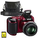 Nikon Coolpix L810 Rouge + Nikon CS-P08 + Carte SDHC 4 Go