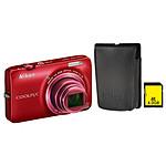 Nikon Coolpix S6300 Rouge + Etui ALM230101 + Carte SDHC 4 Go