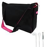 Sacoche à bandoulière pour ordinateur portable + écouteurs KNG Oozy Offerts ! (jusqu'à 15.6'')