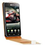 Swiss Charger Etui Cuir Flip Blanc LG Optimus F5