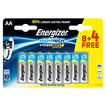 Energizer High Tech PowerBoost 8 piles AA LR03 + 4 gratuites