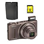 Nikon Coolpix S9500 Marron + Etui ALM230103 + Carte SDHC 8 Go
