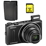 Nikon Coolpix S9500 Noir + Etui ALM230103 + Carte SDHC 8 Go