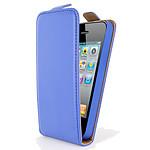 Swiss Charger Etui Cuir Flip Bleu pour iPhone 4/4S