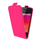 Swiss Charger Etui Cuir Flip Fuchsia pour Wiko Ozzy