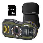 Pentax Optio WG3-GPS Vert + Etui néoprène Noir + Carte SD 8 Go