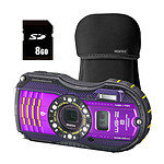 Pentax Optio WG3-GPS Violet + Etui néoprène Noir + Carte SD 8 Go