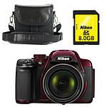Nikon Coolpix P520 Rouge + Nikon CS-P08 Noir + Carte SDHC 8 Go