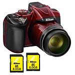 Nikon Coolpix P600 Rouge + 2x Nikon Carte SDHC 8 Go