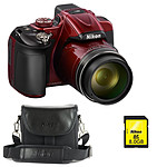 Nikon Coolpix P600 Rouge + Nikon CS-P08 Noir + Nikon Carte SDHC 8 Go