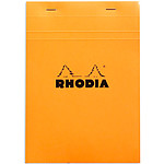 Rhodia Bloc N°16 Orange agrafé en-tête 14.8 x 21 cm quadrillé 5 x 5 160 pages