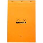 Rhodia Bloc N°19 Orange agrafé en-tête 21 x 31.8 cm ligné avec marge 160 pages