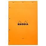 Rhodia Bloc N°20 Orange agrafé en-tête 21 x 31.8 cm Seyès grands carreaux  160 pages perforées