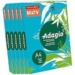 Adagio Lot de 5 ramettes de papier 500 feuilles A4 80g coloris Bleu Intense