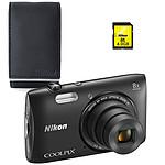 Nikon Coolpix S3600 Noir + Nikon ALM2400BV + Carte SDHC 4 Go