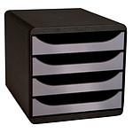 Exacompta Big-Box 4 tiroirs noir/argent