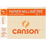 Canson Papier à dessin millimétré 12 feuilles A4 90g