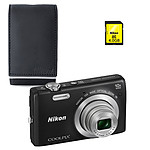 Nikon Coolpix S6700 Noir + Nikon ALM2400BV + Nikon Carte SDHC 4 Go