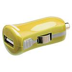 Mini chargeur USB 2.1A sur prise allume-cigare (jaune)