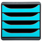Exacompta Big-Box 4 tiroirs Gris / turquoise