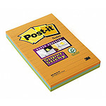 Post-it Bloc Super Sticky Grand format 45 feuillets 102 x 152 mm ligné x 3