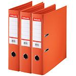 Esselte Lot de 10 classeurs à levier standard 2 Anneaux dos 75 mm Orange