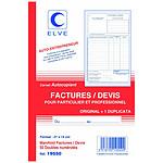 Elve Manifold factures / devis 50 feuillets avec duplicata 21 x 14 cm