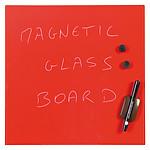 Bi-Office Tableau Mémo en Verre Magnétique Rouge