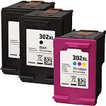 Multipack cartouches compatibles HP 302XL (Noir, cyan, magenta et jaune)