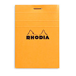 Rhodia Bloc N°11 Orange agrafé en-tête 7.4 x 10.5 cm petits carreaux 5 x 5 mm 80 pages