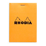 Rhodia Bloc N°12 Orange agrafé en-tête 8.5 x 12 cm petits carreaux 5 x 5 mm 80 pages