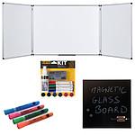Bi-Office Triptyque 90 x 120/240 cm + Kit magnétique et marqueurs + Tableau Mémo
