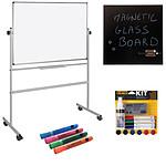 Bi-Office Tableau Pivotant 150 x 120 cm + Kit magnétique et marqueurs + Tableau Mémo