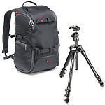 Manfrotto Travel Backpack MB MA-TRV-GY Gris + Befree MKBFRA4-BH