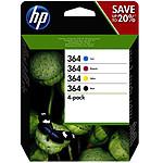 HP 364 Pack de 4 Noir, Cyan, Magenta, Jaune (N9J73AE)