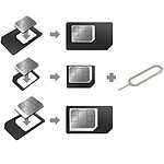 Akashi Adaptateur Carte SIM Nano + Micro SIM + Outils d'éjection