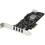 StarTech.com Carte contrôleur PCI-E (4 ports USB 3.0 Type-A - SATA / LP4)